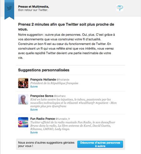 Mail de Twitter reçu par Presse et Multimedia