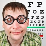 Patient portant des lunettes