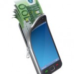 un smartphone et des billets de banque